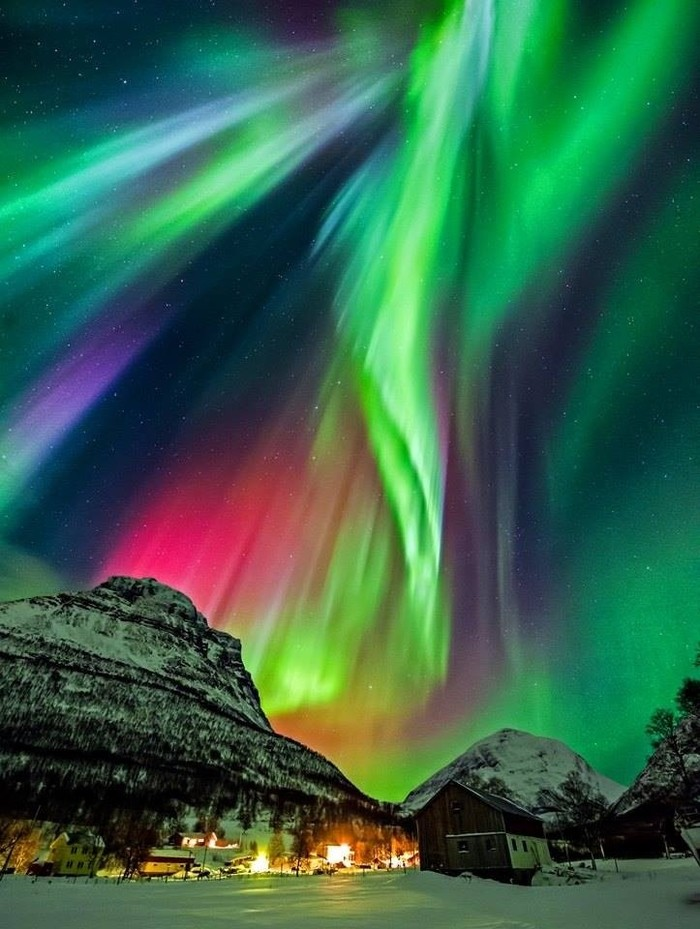 Потрясающая красота полярного сияния. Норвегия