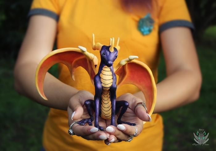 Spyro Рукоделие с процессом, Дракон, Природа, Игры, Полимерная глина, Ручная работа, Фэнтези, Бархатный пластик, Длиннопост