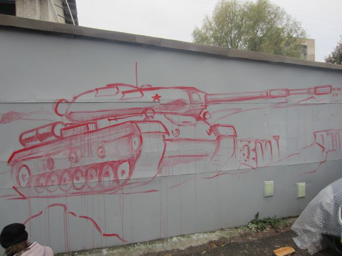 Рисунок на гараже Стрит-Арт, Гараж, Танки, Длиннопост