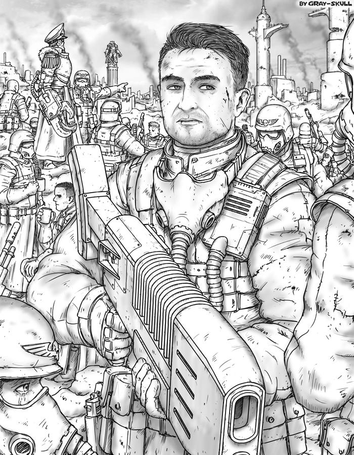 Последний рубеж (by Gray-Skull) Warhammer 40k, Gray-Skull, Имперская гвардия, Комиссар, Комиссар яррик, Арт, Портрет, Картинки