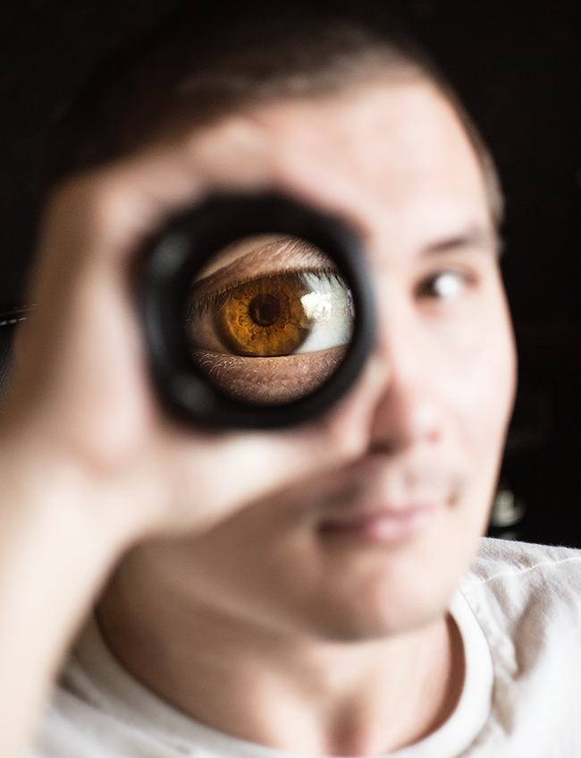 Глаз через объектив Глаза, Объектив, Радужка
