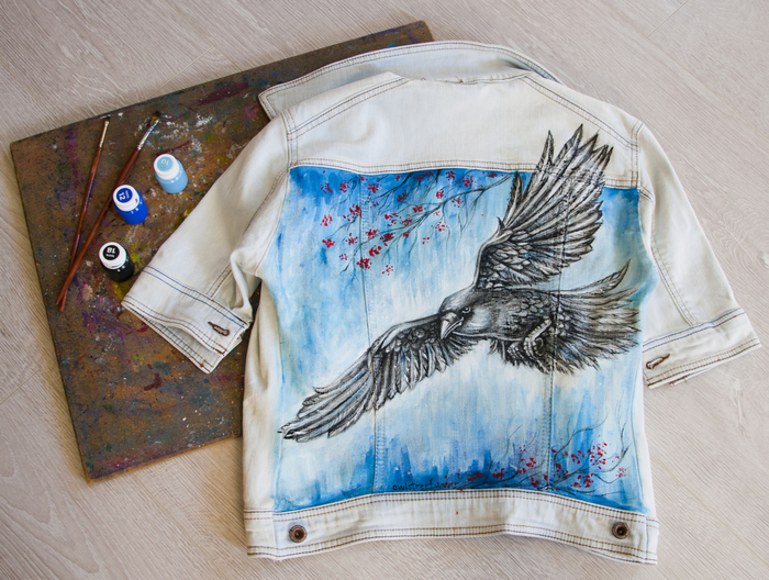 Роспись джинсового пиджака. Ворон, Роспись, Роспись по ткани, Ручная роспись одежды, Пиджак, Джинсы, Мода, Стиль, Длиннопост