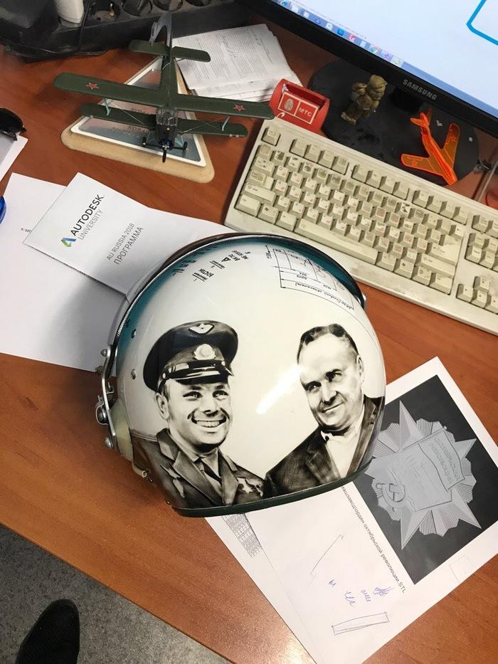 Новая жизнь старого летного шлема Шлем, Гагарин, Королев, Аэрография, Своими руками, Покраска, Реставрация авто, Длиннопост