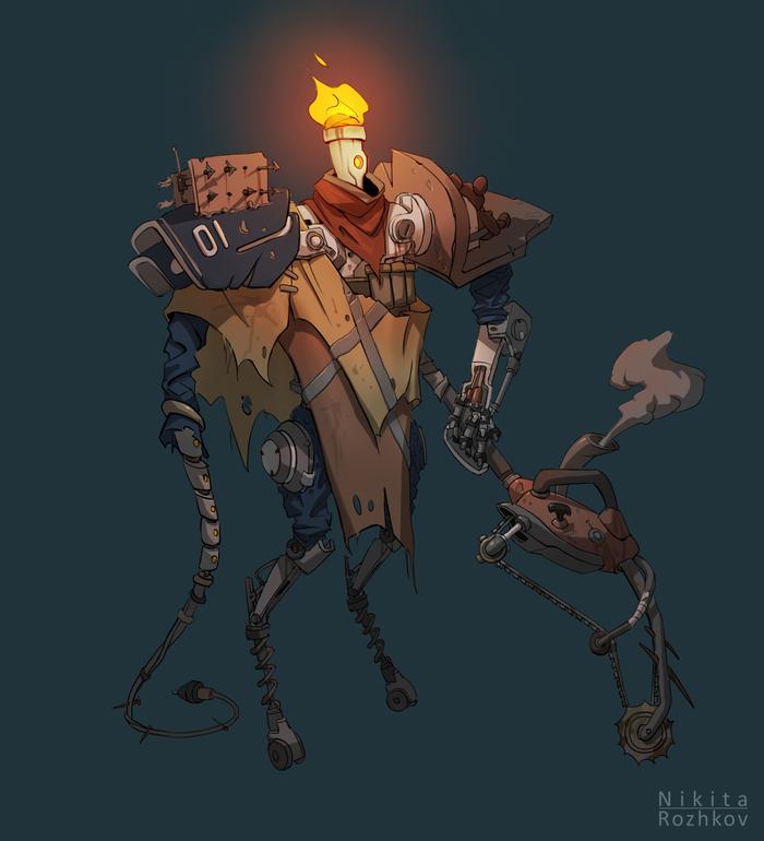 Бот постапокалипсиса Робот, Бот, Постапокалипсис, Рисунок, Цифровой рисунок