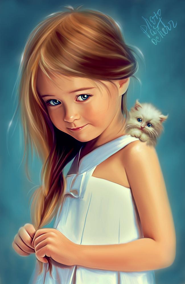 Одна из очень старых моих работ Девочка, Кот, Арт-Обработка, Фотография, Photoshop, Ретушь, Длиннопост