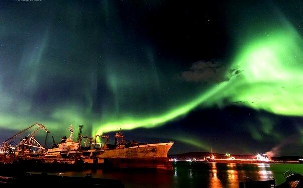 Полярное сияние в Мурманске Мурманск, Кольский полуостров, Длиннопост, Фотография, Северное сияние