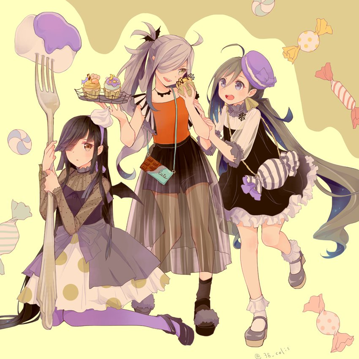 Halloween-shimo Kantai collection, Kiyoshimo, Asashimo, Hayashimo, Аниме, Anime Art, Хэллоуин