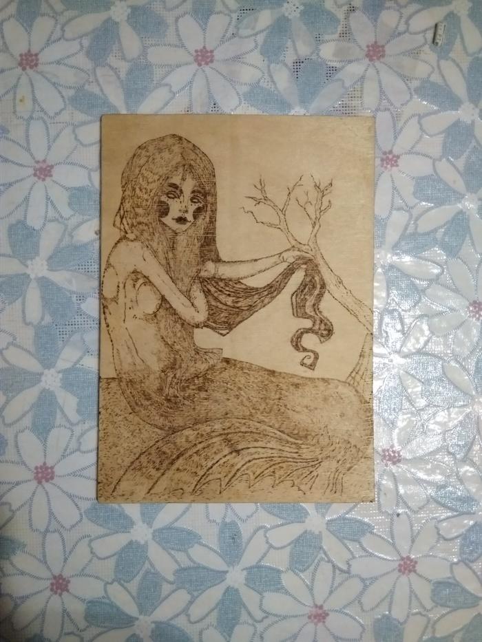 Русалка Пирография, Выжигание, Мифические существа, Русалка, Девушки