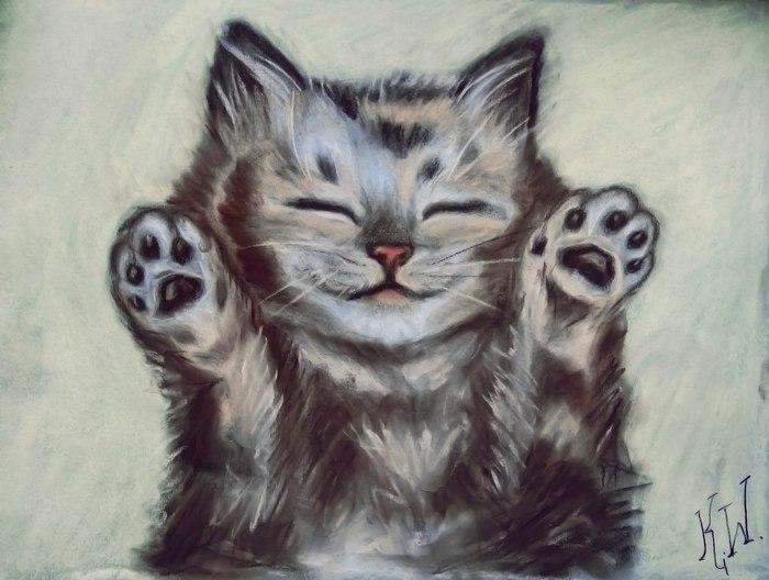 Сонного и счастливого котенка в пост :)