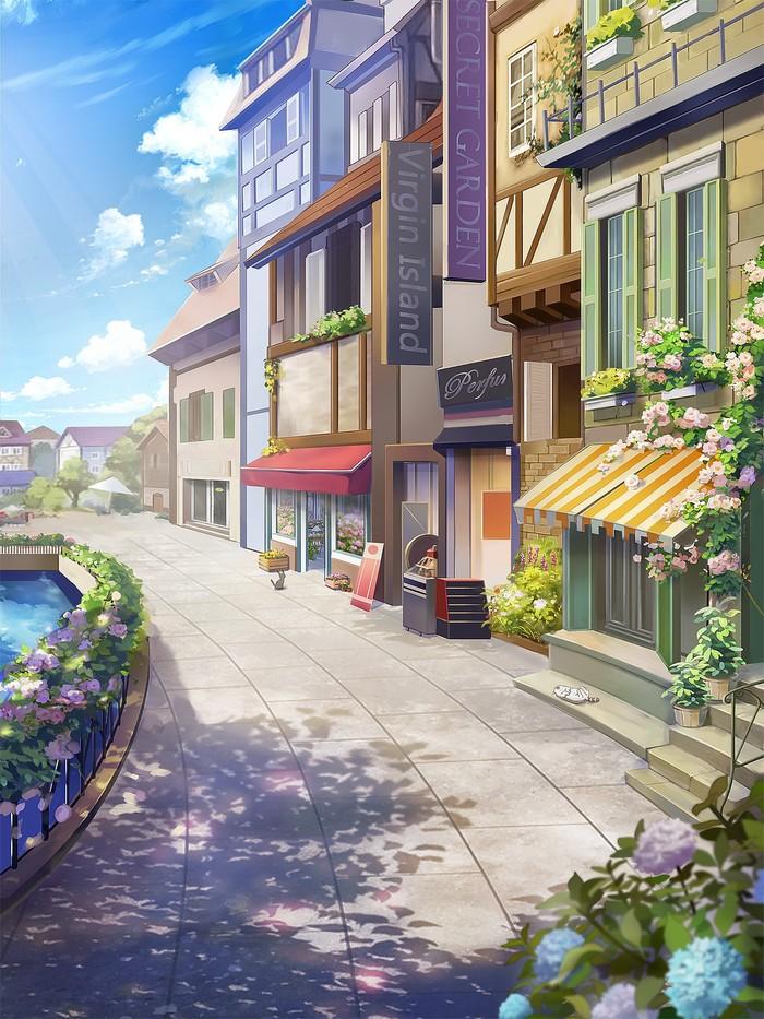 Цветочный город Арт, Рисунок, Цветы, Улица