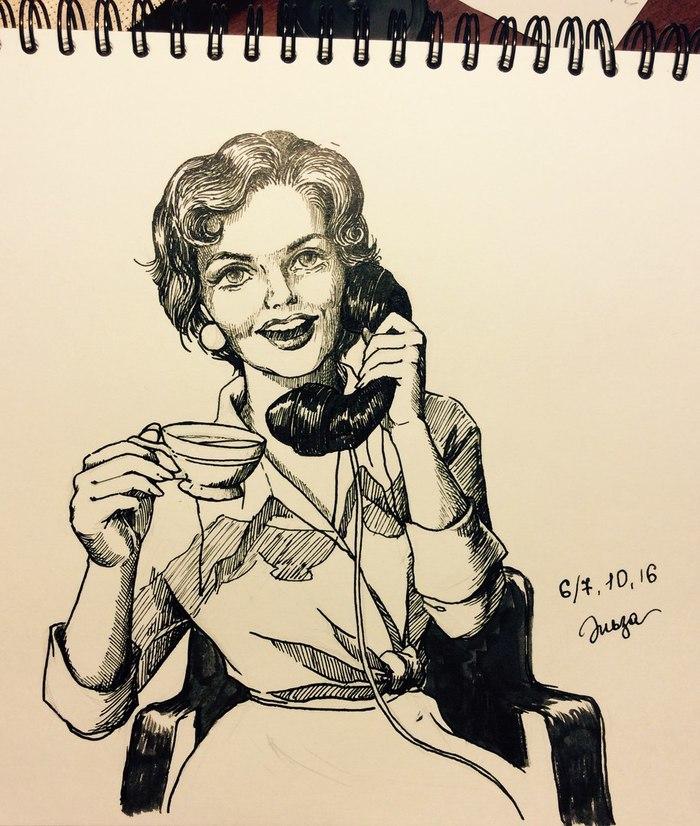 Секретарь 50-х Скетч, Скетчбук, Рисунок, Тушь, Секретарь, Женщина, Ретро
