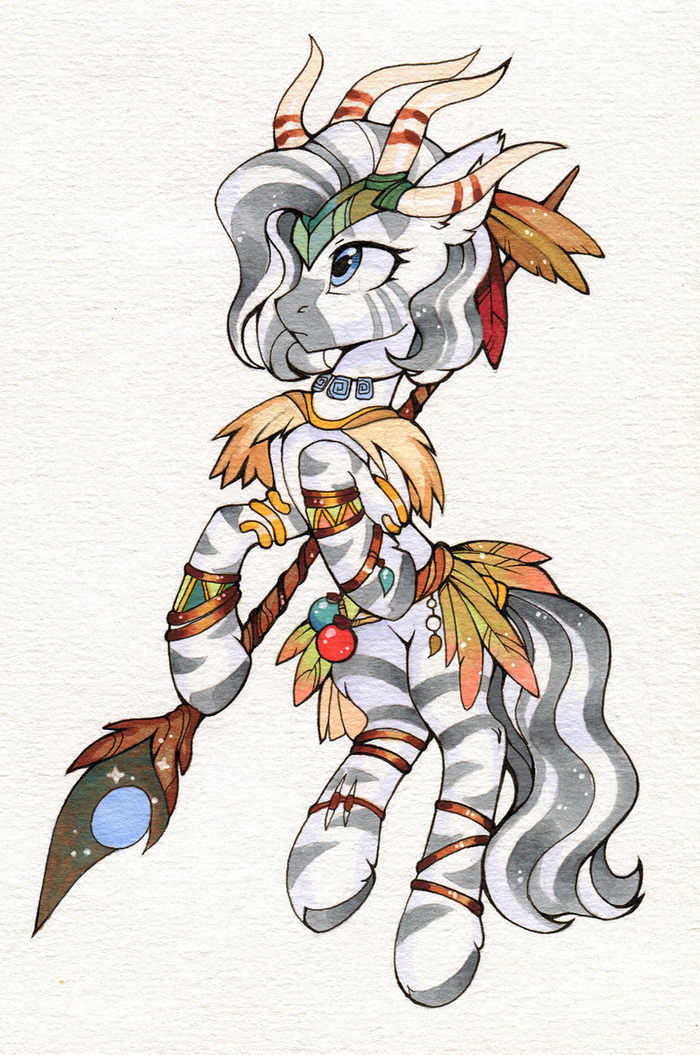 Зебра My Little Pony, MLP Zebra, Original Character, Арт, Длиннопост