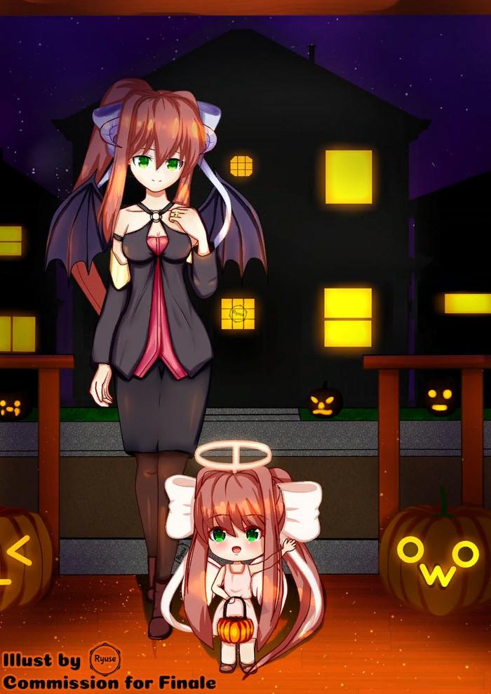 Monika and Chibika trick or treating Doki doki literature Club, Monika, Визуальная новелла, Anime Art