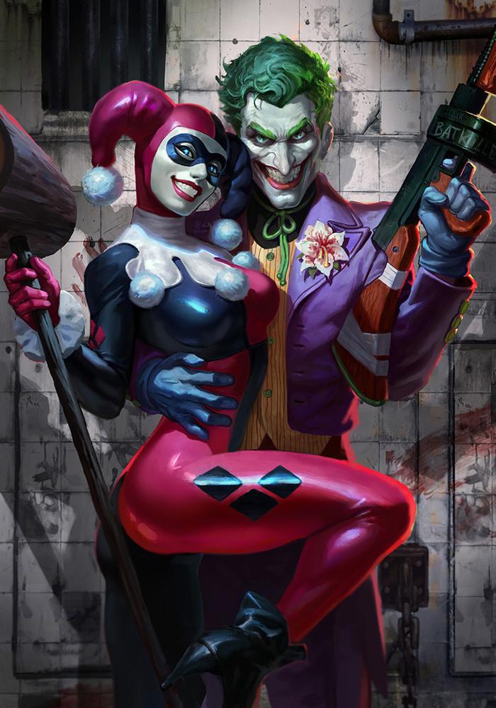 Joker and Harley Арт, DC, Джокер, Харли Квинн