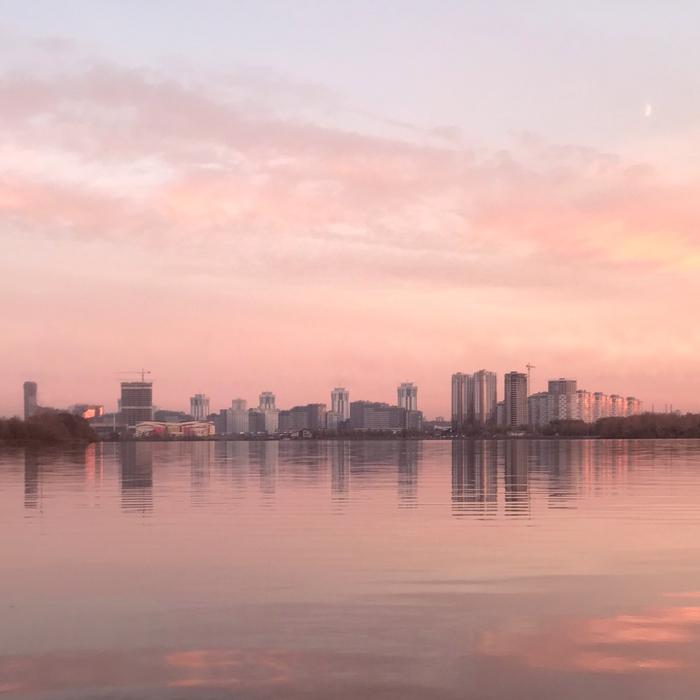 Минск, Беларусь. Минск, Беларусь, Озеро, Город, Закат, Фотография