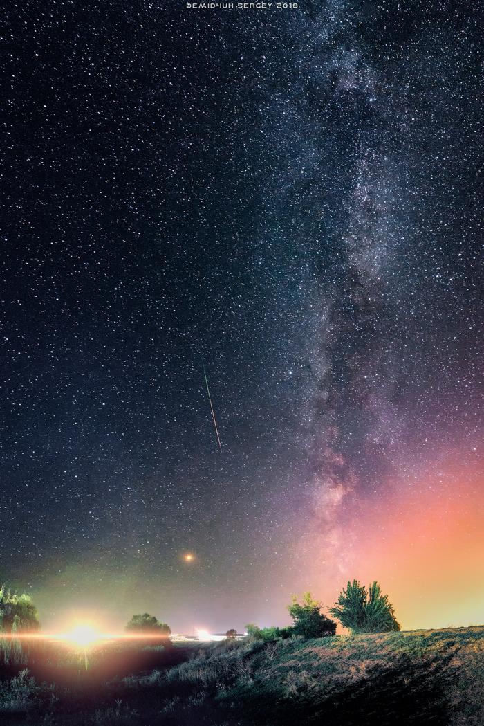 Одинокая Персеида. Август 2018. Персеиды, Млечный путь, Ночь, Фотография, Метеорит, Астрофото, Пейзаж, Кривой рог