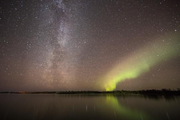 Milky Way Пейзаж, Природа, Кольский полуостров, Млечный путь, Северное сияние, Длиннопост