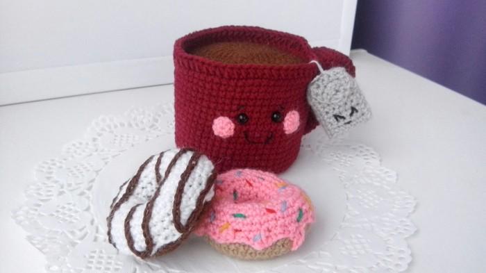 Чай с пончиками Пятничный тег моё, Амигуруми, Рукоделие, Кружка, Пончики