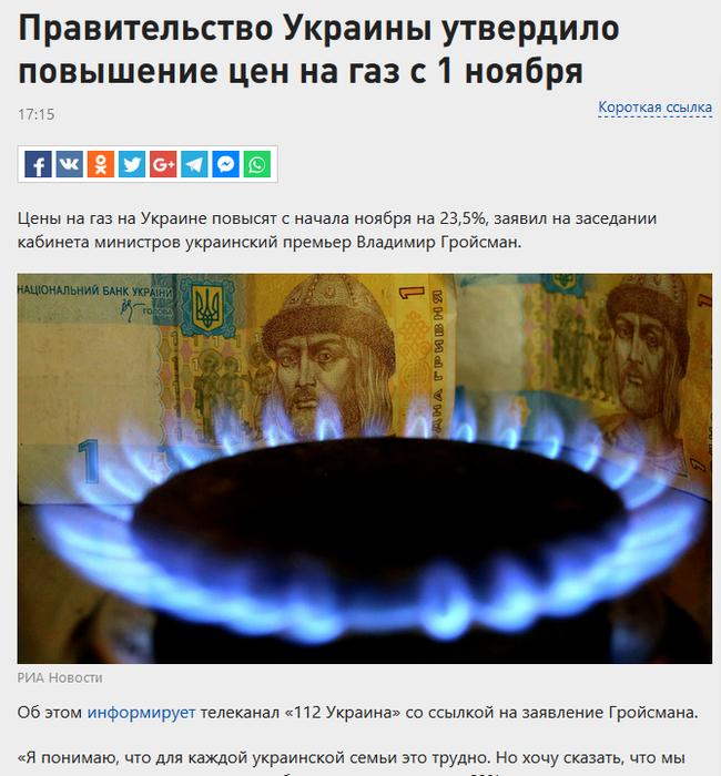 На Украине повысили цены на газ Украина, Политика, Газ, Зима