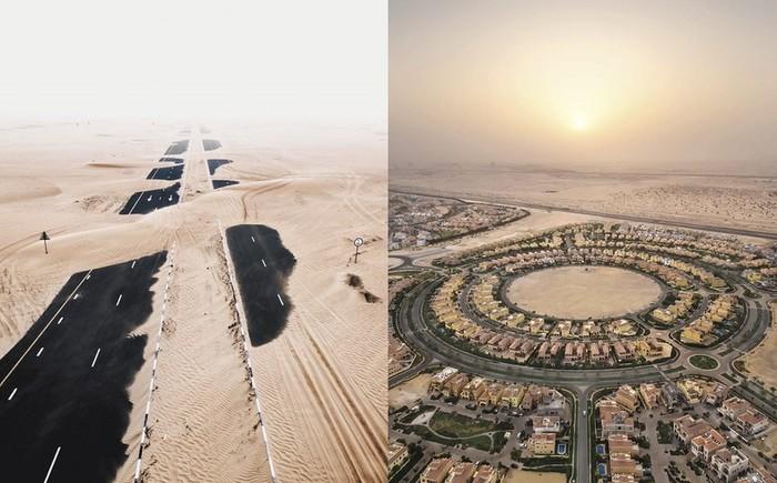 Как пустыня поглощает Арабские Эмираты. Пустыня, Природа, Песок, ОАЭ, Фотография, Длиннопост