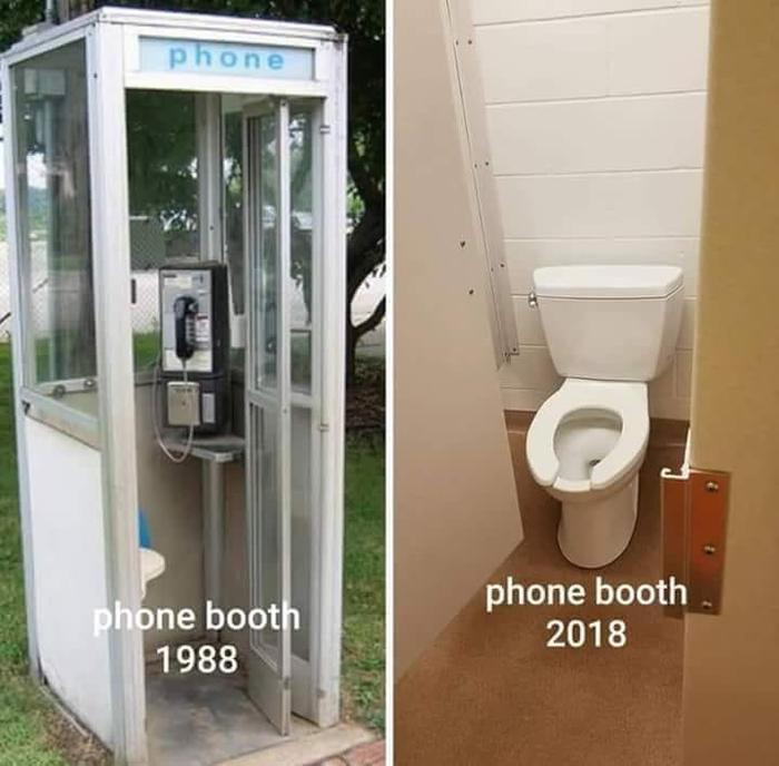 Комната для телефонных переговоров 1988 и 2018
