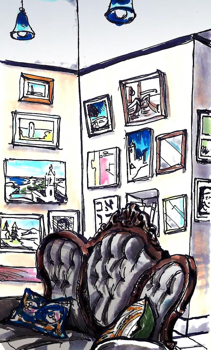 Гостиная в хостеле Хостел, Диван, Рисунок, Акварельные маркеры, Интерьер
