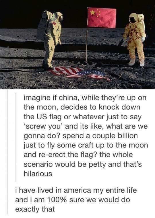 План Reddit, США, Китай, Луна, Флаг
