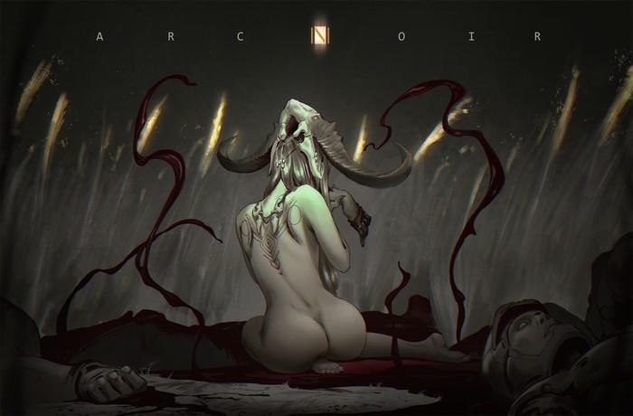 Blood Арт, Рисунок, Девушки, Кровь, Магия