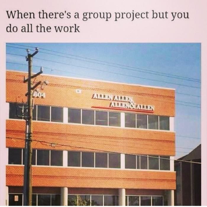 Когда проект был групповым, но всю работу сделал ты