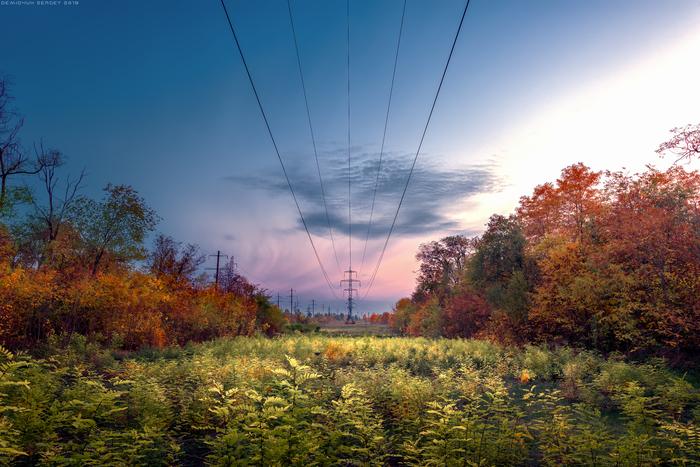 Эстетика ЛЭП ЛЭП, Фотография, Пейзаж, Осень, Вечер, Цвет, Nikon D610, Nikkor 14-24