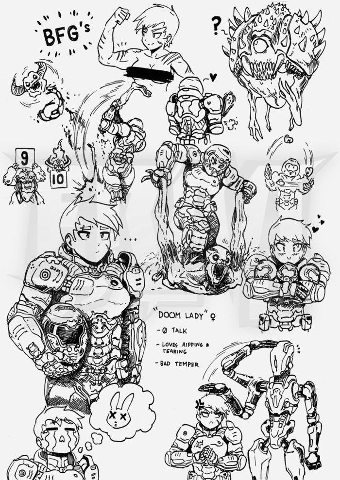Дум Леди Doom, Правило 63, Gender Bender, Игры, Арт, Крепкая девушка, Длиннопост