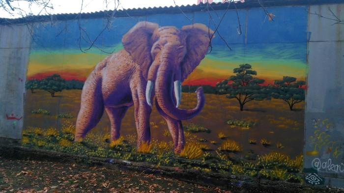 Слон в Текстильщиках. Граффити, Слоны, Уличная живопись, Рисунок, Текстильщики, Москва