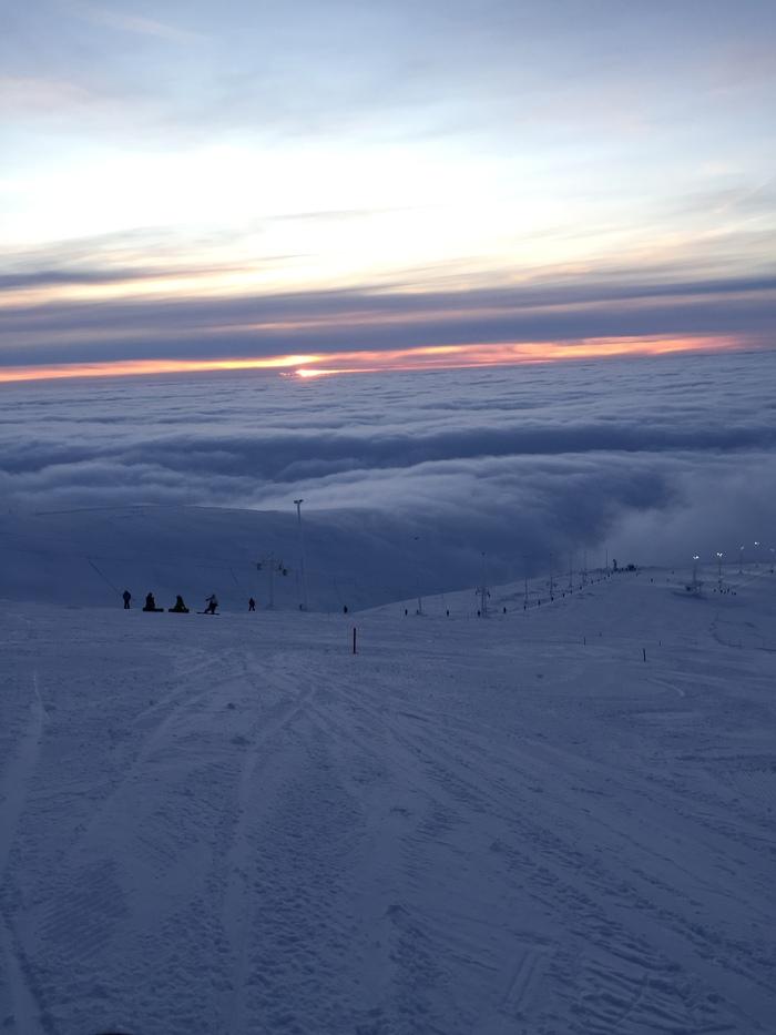 Хибины в облаках Хибины, Кольский полуостров, Горы, Зима