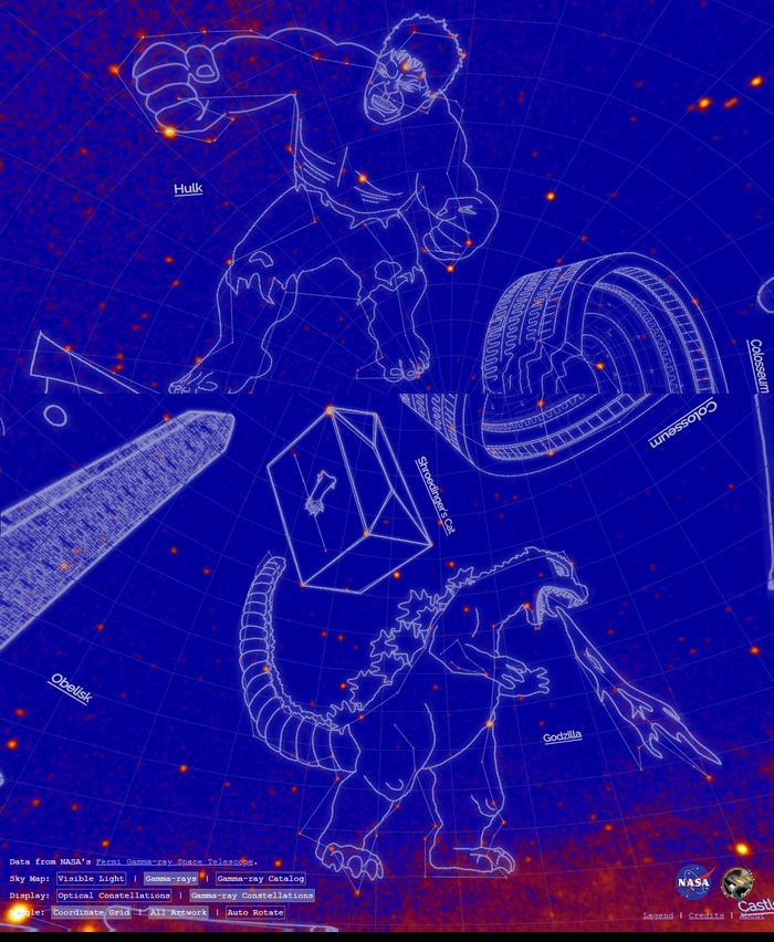 Вы видели созвездие Халка? А Годзиллы? NASA выпустило карту «созвездий» из источников гамма-лучей NASA, Созвездия, Астрономия, Вселенная, Звёзды, Длиннопост