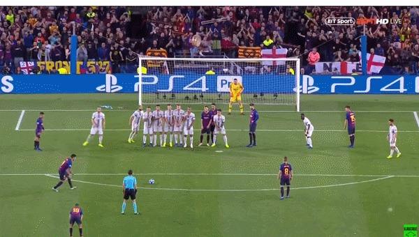 На каждого хитреца найдется кто-нибудь еще хитрее Спорт, Футбол, Лига чемпионов, Барселона, Интер, Марцело Брозович, Штрафной удар, Хитрость, Гифка