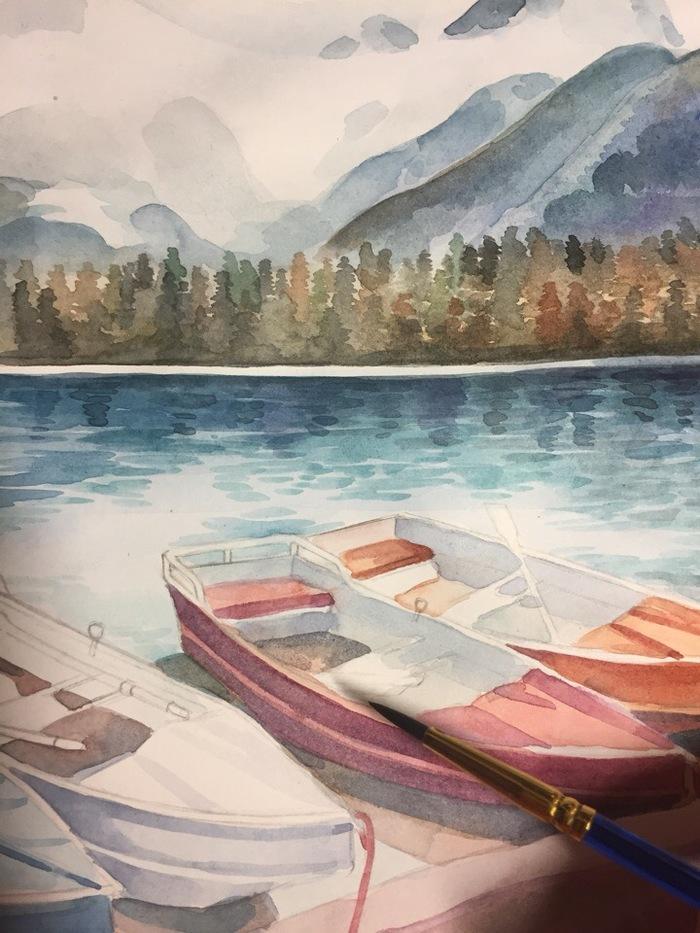 Норвегия (Акварель) Творчество, Рисунок, Пейзаж, Акварель, Норвегия, Okta23, Лодка, Длиннопост, Озеро