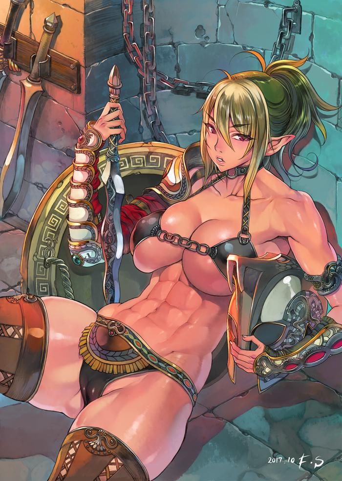Gladiator Echidna FS, Арт, Крепкая девушка, Queens Blade, Аниме, Anime Art, Воительница, Фэнтези