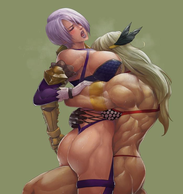 Ivy vs Amazon Cirenk, Арт, Крепкая девушка, Soul Calibur, Ivy, Dragons Crown, Амазонка, Аниме