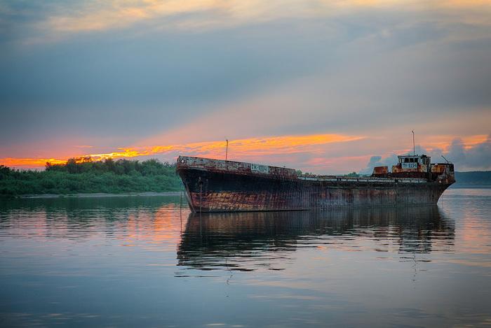 Закат железного работяги Корабль, Фотография, Закат, Hdr
