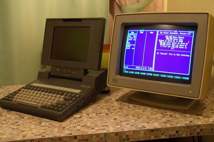 Уже не luggable pc, ещё не notebook: Laptop TOSHIBA T3100/20 - Часть 2 Toshiba, Ноутбук, Oldschool, Habr, DOS, Видео, Длиннопост