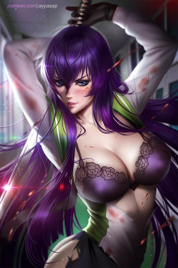 Saeko DeviantArt, Арт, Рисунок, Anime Art, AyyaSAP, Аниме, Школа мертвецов