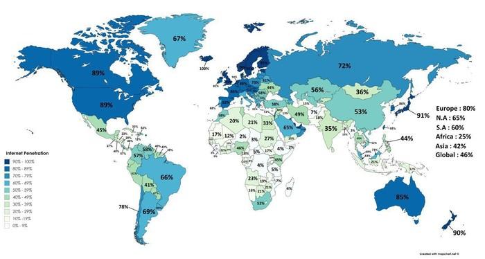 Какая доля населения стран Мира имеет доступ в Интернет. Интернет, Карта мира, Статистика