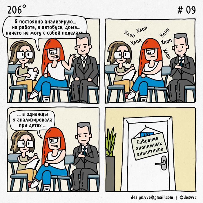 206° #9 Про анализ 206, Комиксы, Аналитика, Собрание, Дети, Анонимус, Коллеги, Айтишники