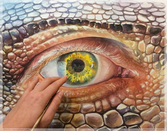 Глаз-алмаз. Artkosh, Акварель, Глаза, Рисунок, Рептилоиды