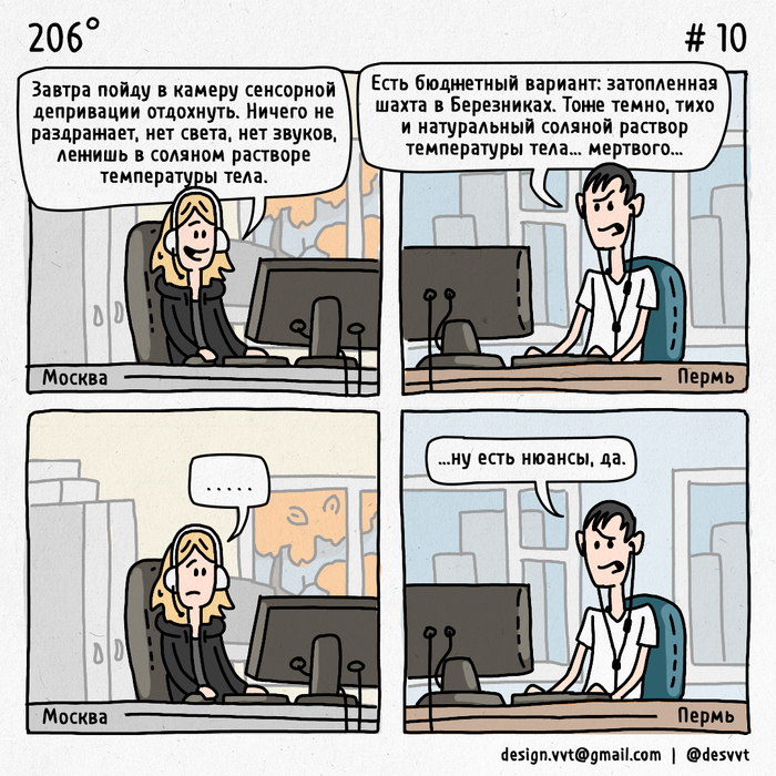 206° #10 Про отдых в Березниках 206, Коллеги, Комиксы, Сенсорная депривация, Березники, Нюанс