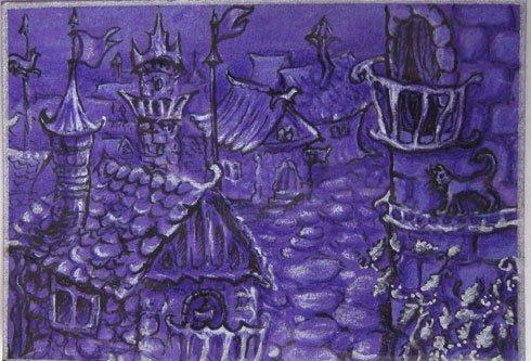 Однажды в сказке Рисунок, ACEO, Рисунок карандашом, Сказка, Дом, Город