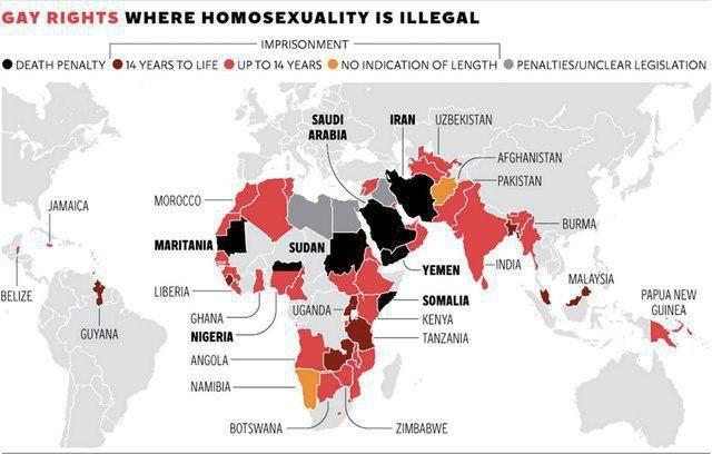 Страны, в которых гомосексуализм нелегален. Карта мира, Страны, Гомосексуализм
