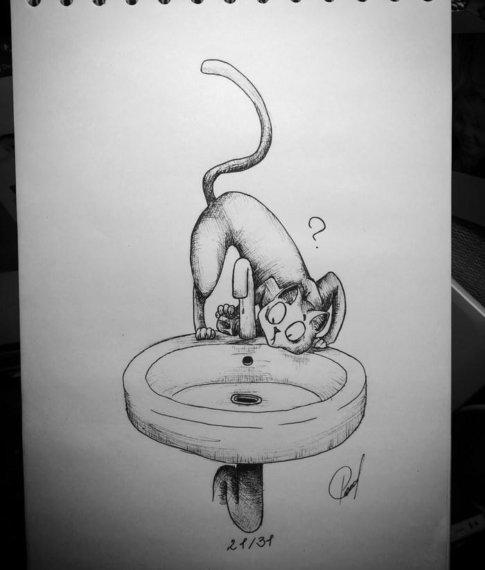 ИнКОТобер. Возвращение котов. Часть 3. Заключительная. Inktober, Инкотобер, Рисунок, Кот, Я в плену у котов, Длиннопост, Животные, Мультяшный стиль
