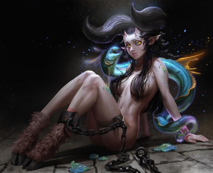 Meimo Арт, Рисунок, Девушки, Существо