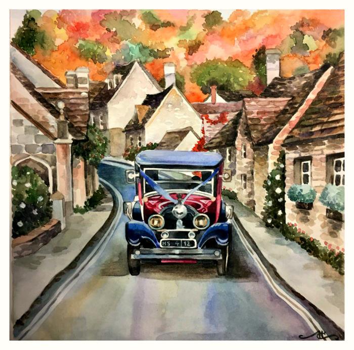 Со склона (Акварель) Городские пейзажи, Машина, Акварель, Творчество, Рисунок, Англия, Длиннопост, Авто, Город